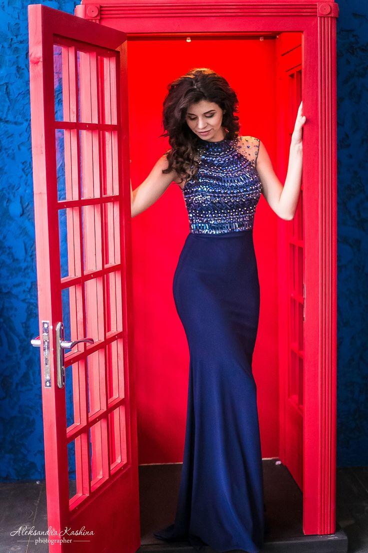 Long evening jersey dress with beaded bust