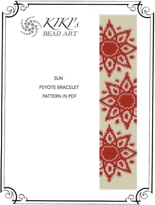 Sun peyote bracelet cuff pattern PDF instant download