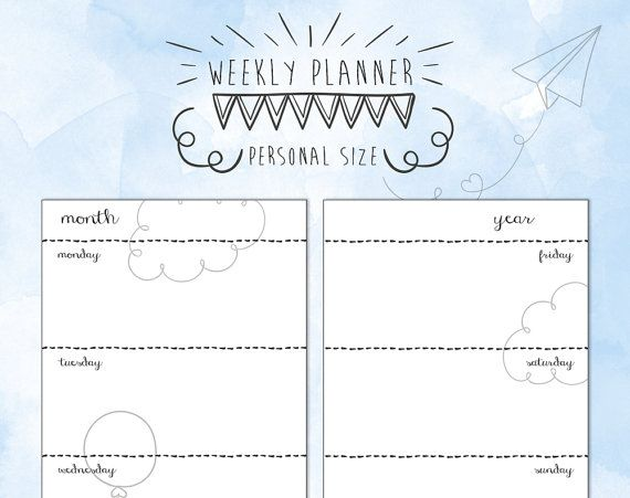 Personal size undated WEEK on TWO PAGES di TheLittlePlannerShop #planner #planneraddict #plannergirl #cute #organize #weeklyplanner #personal