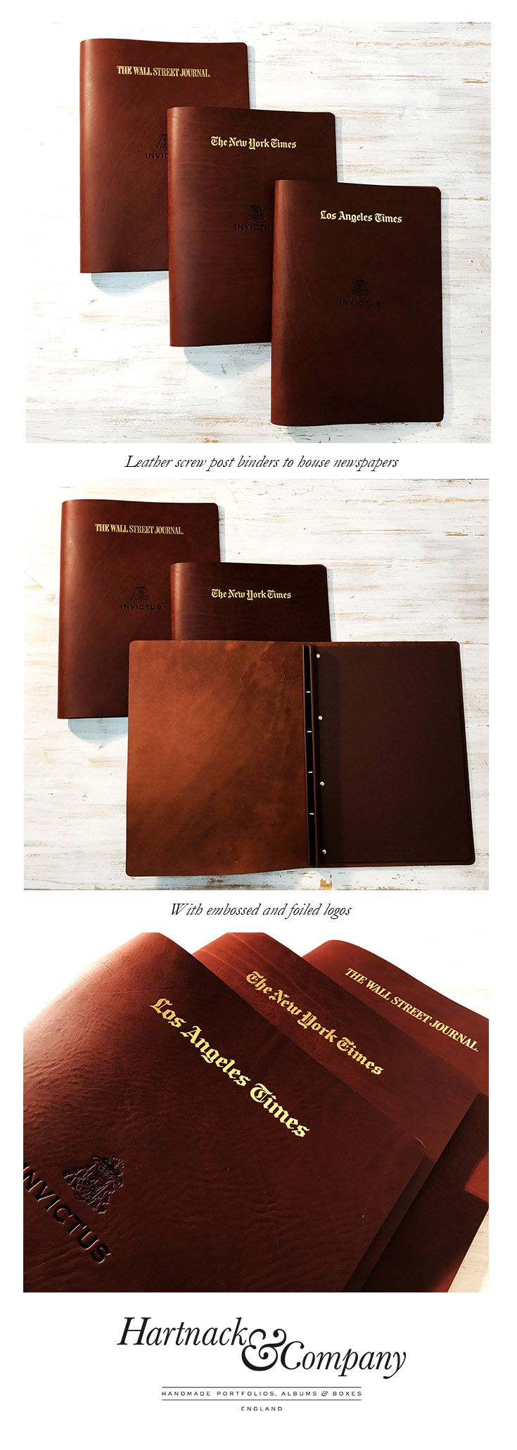Leather portfolio cases business portfolios folders embossed with - Leather Screw Post Binders For Newspapers On A Super Yacht With Embossed And Foiled Logo