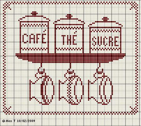 cuisine - kitchen - café thé sucre - point de croix-cross stitch - broderie-embroidery- Blog : http://broderiemimie44.canalblog.com/