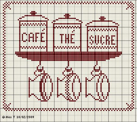 cuisine - kitchen - café thé sucre - point de croix-cross stitch - broderie-embroidery- Blog : http://broderiemimie44.canalblog.com/