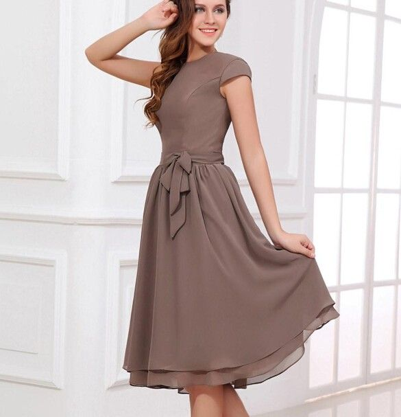 brown knee length mother of the bride dresses 2016 summer