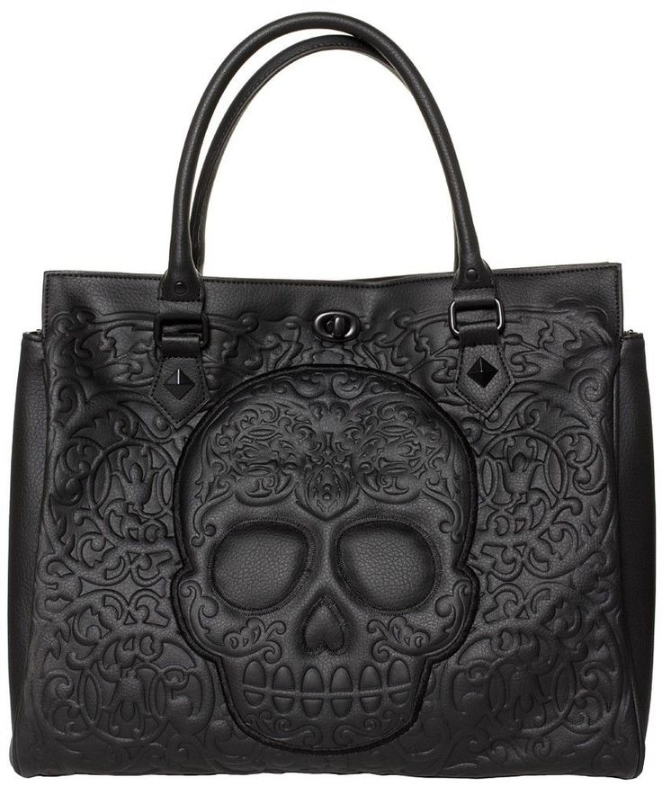 Loungefly Black on Black Lattice Sugar Skull Day of the Dead Tote #Loungefly #TotesShoppers
