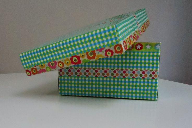 DIY doos versieren met papier en washi tape