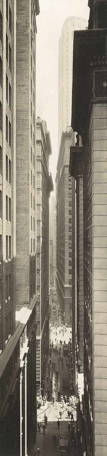 """Exchange Place"" Author: Berenice Abbott (American, 1898-1991) Date: 1933 Medium: Gelatin silver print Location: The Metropolitan Museum of Art, New York"