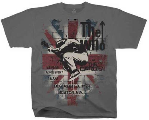 The Who Vintage Concert T-shirt - The Who at The Garden December 3, 1973 Promotional Poster Artwork | Men's Gray Shirt