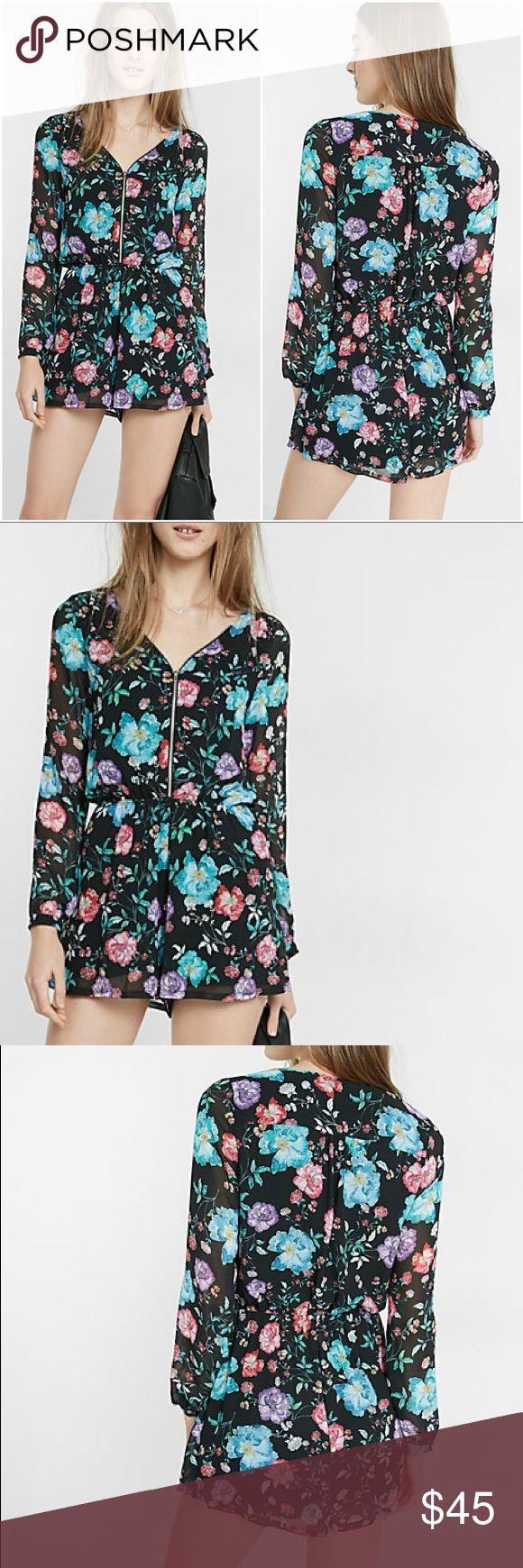"""NWT! - Floral Zip Up Romper New with tags! Never worn, sexy zip front allows you to customize how much skin you want to show. Smooth, silky fabric drapes over your curves comfortably, while a gathered waistband cinches your silhouette to give you that hourglass shape. Pair this with your favorite sunnies and wedges for a fun and girlie ensemble. 1.5"""" inseam, v-neck. Has a zip front, romper is fully lined with long sleeves. Polyester material, machine wash. In perfect condition, has no…"""