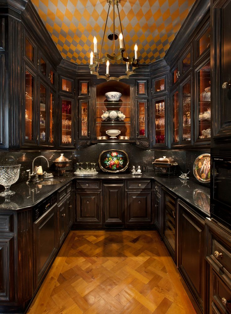 Kitchen Design. Wow what a ceiling especially with black gloss. Soooo Dutch Vermeer!