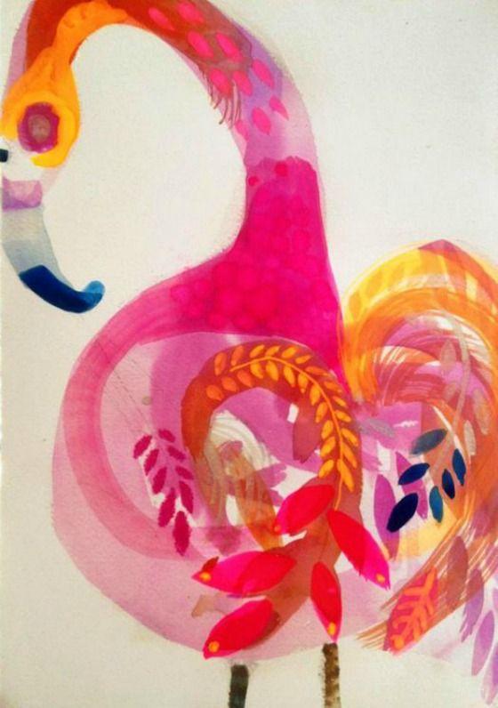 Gorgeous flamingo art.