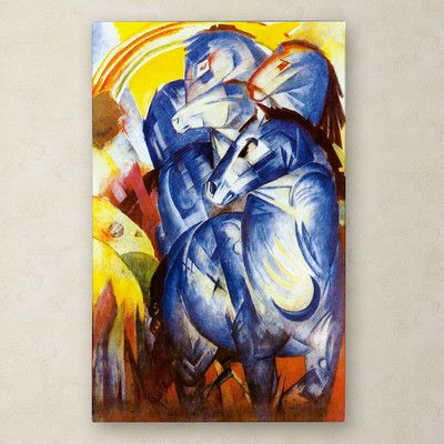 """Trademark Fine Art """"A Tower of Blue Horses 1913"""" by Franz Marc Painting Print on Wrapped Canvas"""