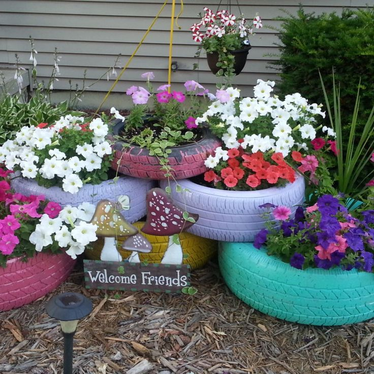 colorful garden tire planters