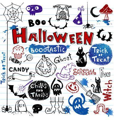 Halloween doodle set vector by azzzya on VectorStock®