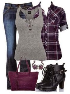 Black Shoes, Lovely Bag, Grey T-hirt,Jeans Trousers, Earrings, Nice Necklace
