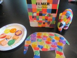 I did watercolor resist, but this is a good idea -- also tissue paper squares! A simple and colorful little Elmer the Elephant to make after reading about Elmer.. I have also used tissue paper squares with the preschoolers!
