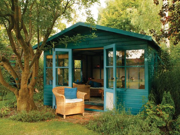 Teal tiny outdoor house
