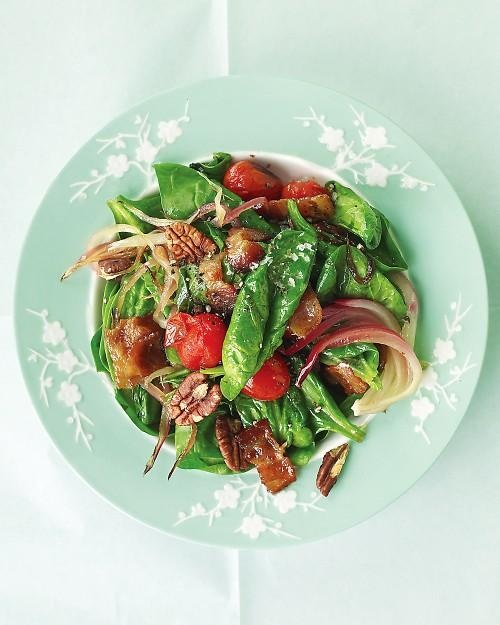 Warm Spinach Salad with Bacon, Tomatoes, and Pecans Recipe