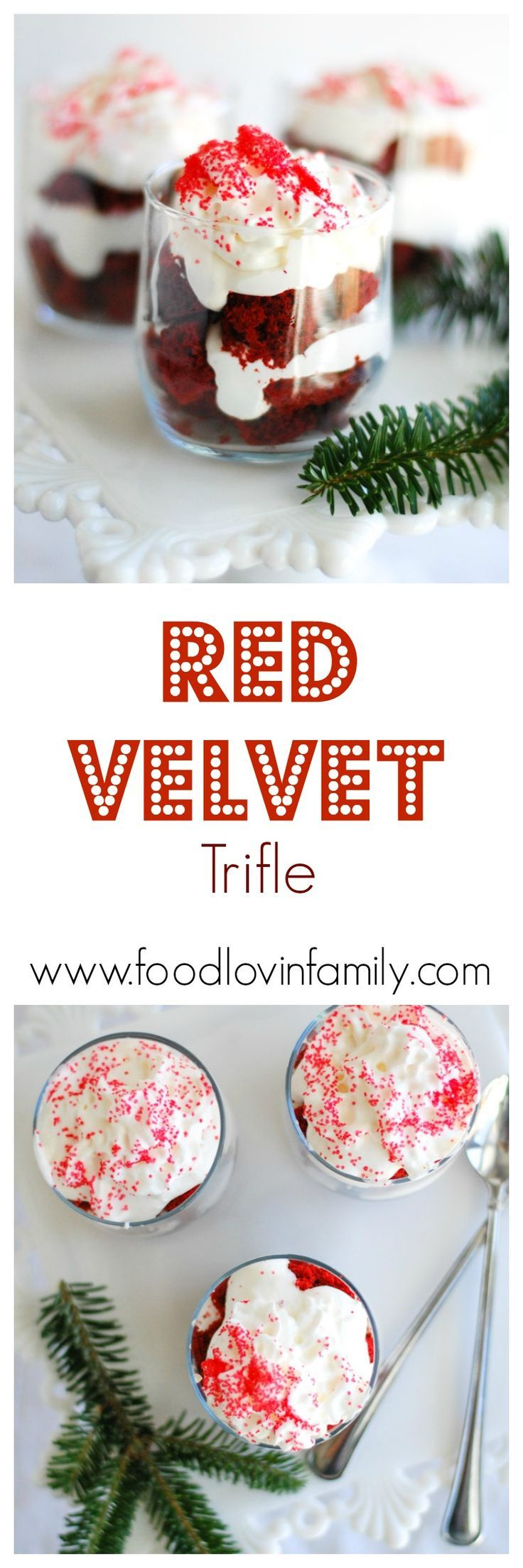 Red Velvet Trifle is made easy by using a cake mix, frozen whipped topping and cream cheese. A festive and delicious treat perfect for the holidays.| http://www.foodlovinfamily.com/red-velvet-trifle/