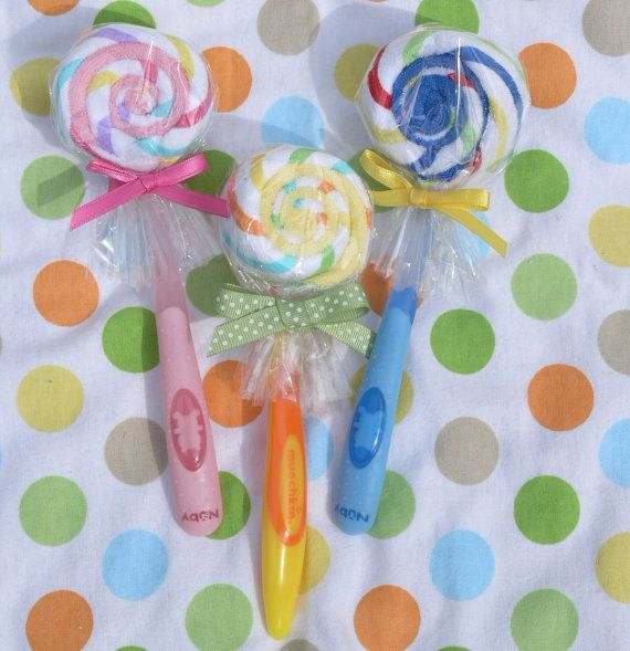 Baby Lollipop - 2 Baby Washcloths with a Feeding Spoon for New Baby