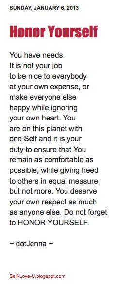 Honor Yourself #selfloveu #dotjenna