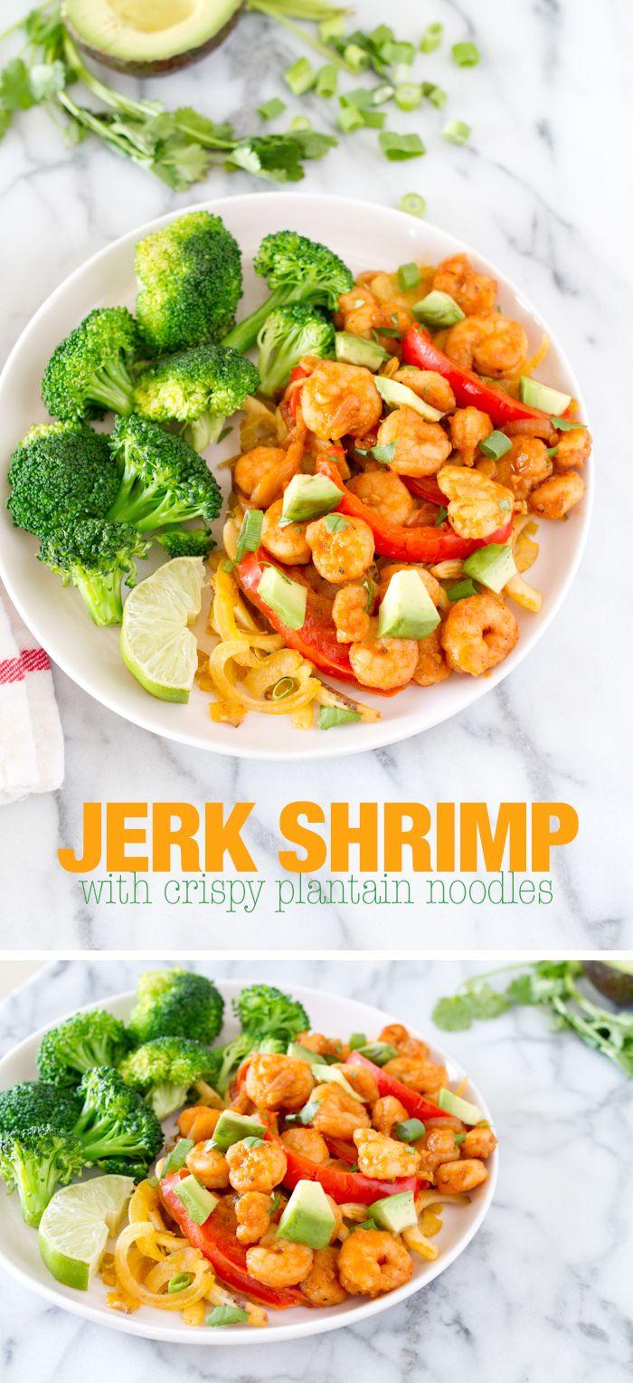 Jerk Shrimp with Crispy Plantain Noodles #paleo #glutenfree