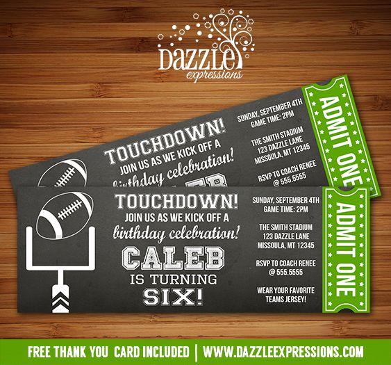 Printable Chalkboard Football Ticket Birthday Invitation