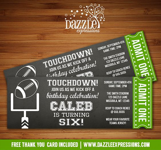 Printable Chalkboard Football Ticket Birthday Invitation | Fútbol | Kids Sports Party | Baby Shower | Boys Football Team Party | DIY  Digital File | FREE thank you card included | Printable Matching Party Package Decorations Available! Banner | Signs | Labels | Favor Tags | Water Bottle Labels and more! www.dazzleexpressions.com