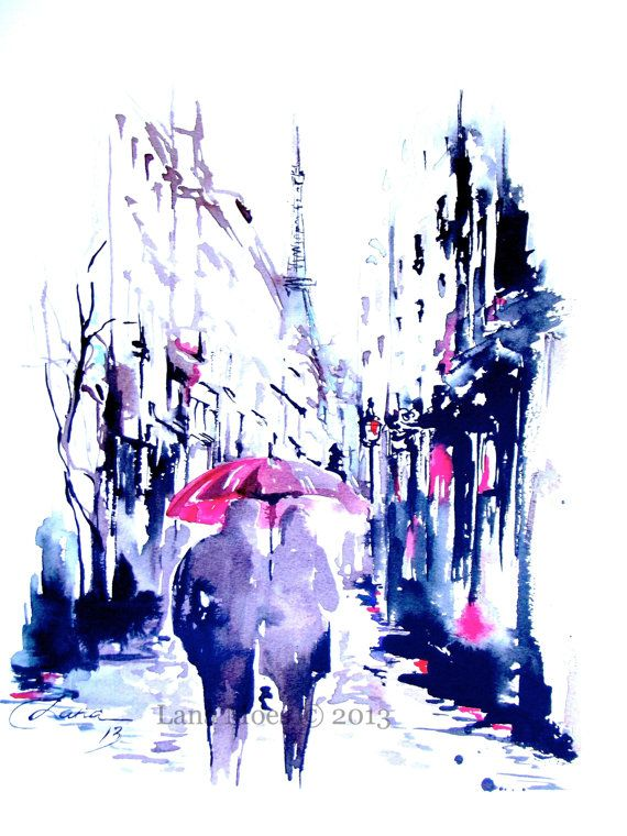 Paris Print from Original Watercolor Travel Illustration Modern Art Painting titled Rainy Paris