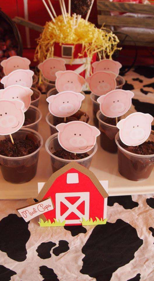 Pigs in mud pudding at a farm themed baby shower party! See more party ideas at CatchMyParty.com!
