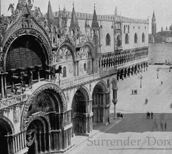 Cathedral Of St. Mark Venice, Italy 1890 Victorian Gothic Architecture Rotogravure Illustration