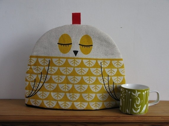 Hand Screen Printed Owl Tea Cosy in yellow by Robinandmould via Conversation Pieces