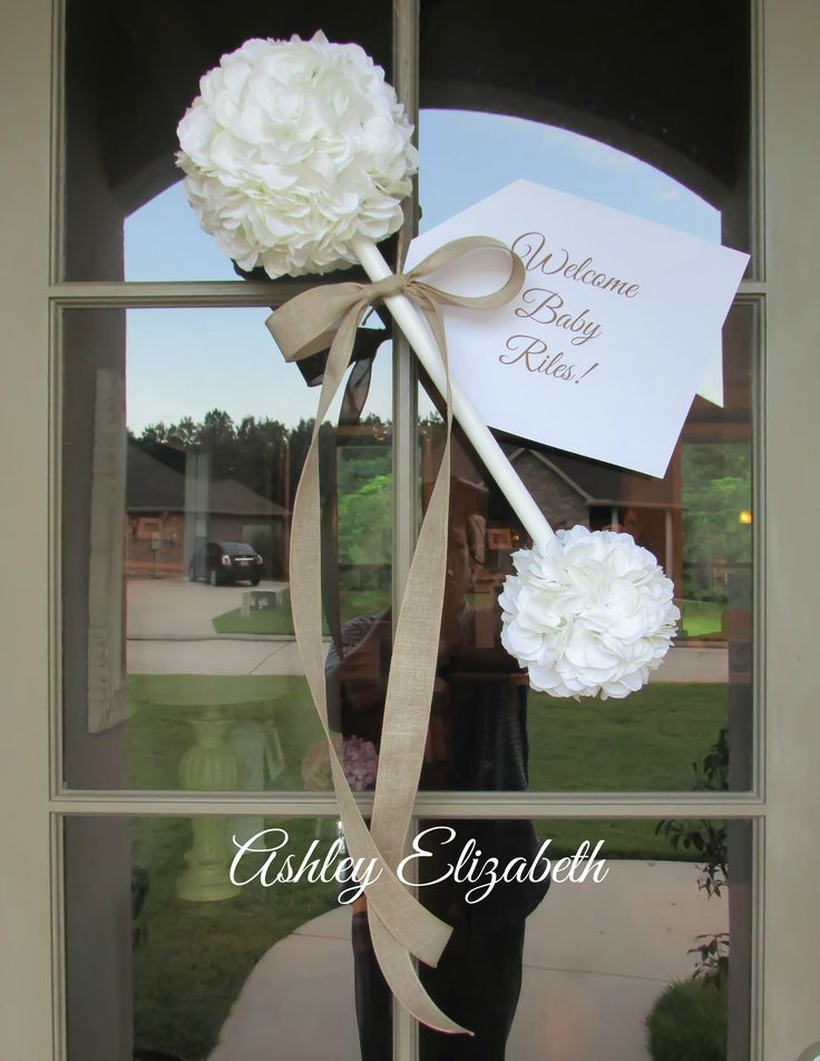 Baby Rattle Wreath, Baby Shower Wreath, Baby Rattle Door Hanger | by Ashley Elizabeth ~ Adorable baby rattle wreath made with white artificial hydrangea flowers; hand painted white wooden dowel rod; and finished with a beautiful burlap bow.