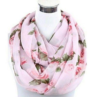 Woman Fashion Rose Flower Infinity Scarf/Shawl Chiffonsummer scarf