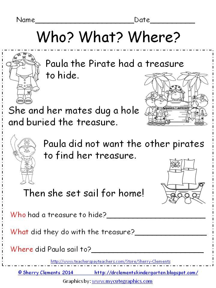 FAN FREEBIE: Reading Comprehension- Who? What? Where? Paula the Pirate - Cute short story with related questions!
