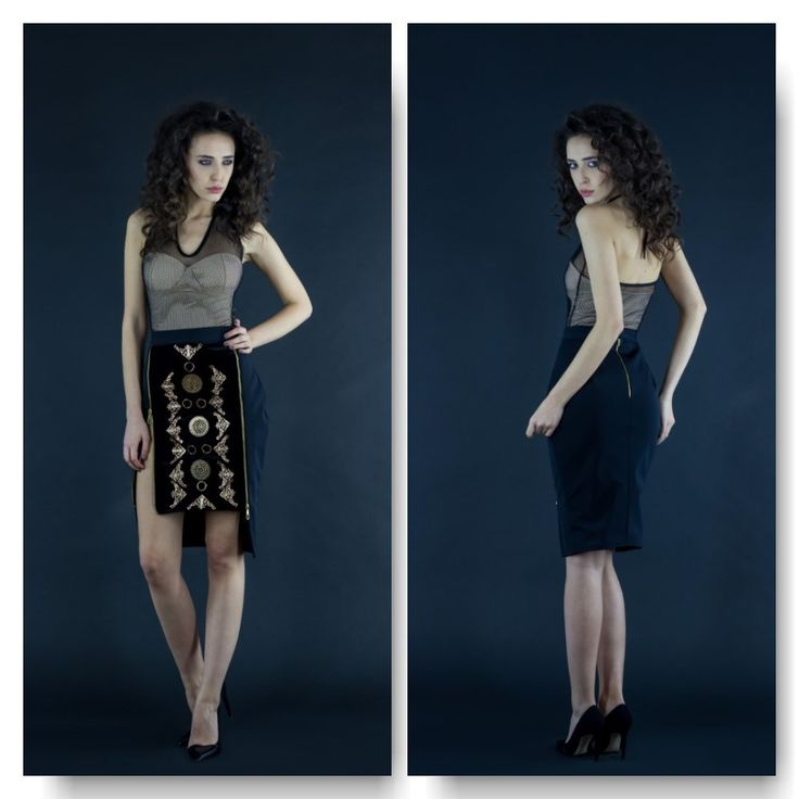 Jersey&mesh bodysuit  Price: 250 RON Black skirt with velvet front pannel with metalic embroidery  Price: 500 RON