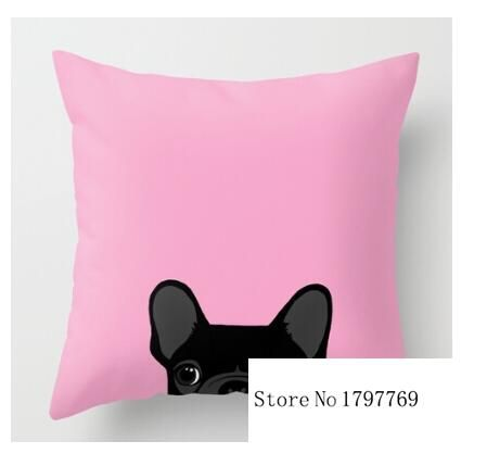 Two sides printing CUTE Funny French bulldog on pink background Pillow Cases for 12 ''14'' 16'' 18'' 20'' 24''inch free shipping