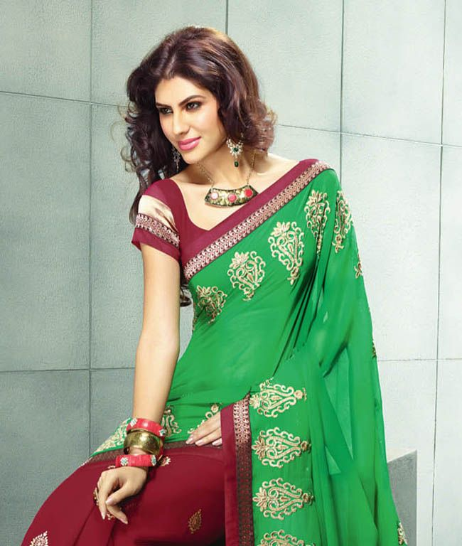 The stunning Indian attire is a perfectly draped saree that embraces the real beauty of a woman. This collection focuses on delivering some latest and refreshing styles and designs to you with a touch of contemporary combined with tradition. Its time to restyle your ethnic wear! BRAND: BrijrajCATEGORY: Saree with Unstitched BlouseARTICLECOLOURMATERIALLENGTHSareeGreen and RedChiffon5.40 metersBlouseRedPoly Dupion0.80 meterWe would always want to send you what we showcase but there might be a…