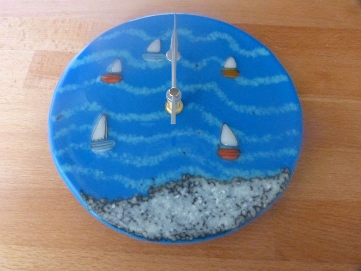 One of recent fused glass seascape clocks  - www.lowmarfusedglass.co.uk