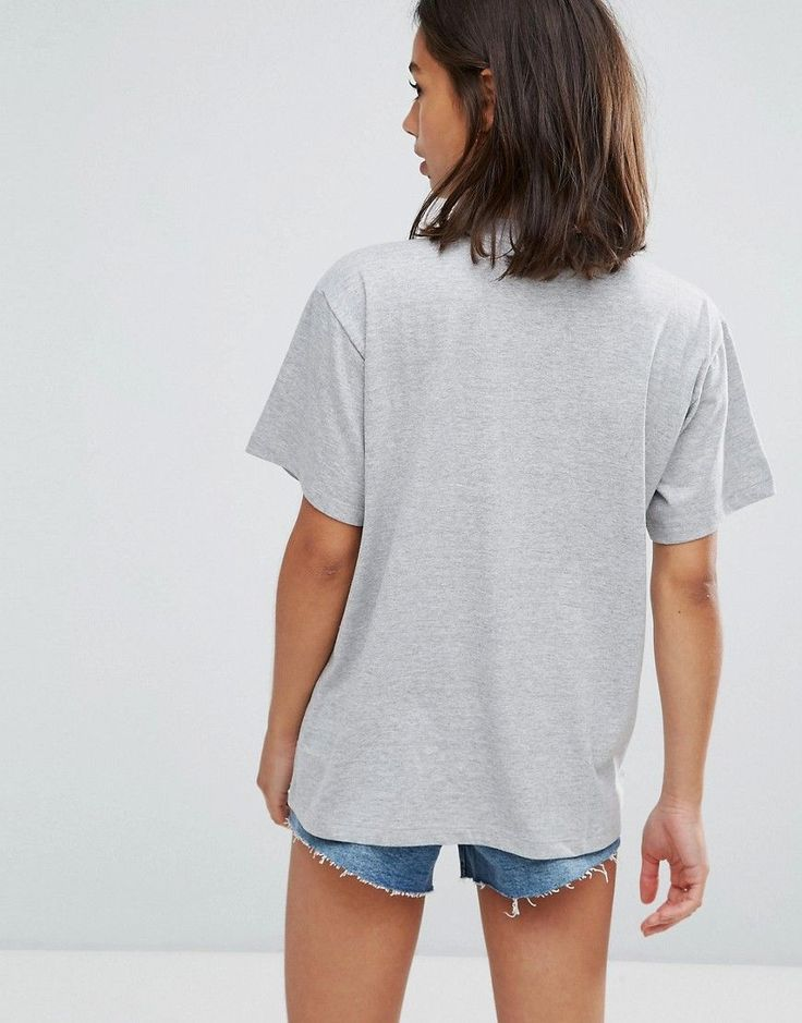 ASOS PETITE T-Shirt in Boyfriend Fit with Beaded Power Motif - Gray