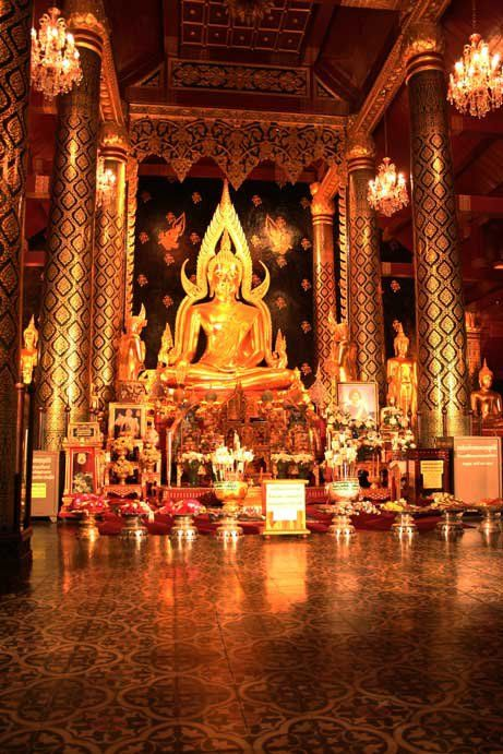 The Phra Buddha Chinnarat is one of the most revered Buddha images in Thailand, attracting devotees from throughout the country. Although replicated in many other temples, the original is still considered to be the most beautiful.