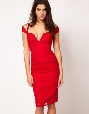 Red Cocktail Dress in Lace | ASOS...E's wedding?? Sorry about the cleavage.