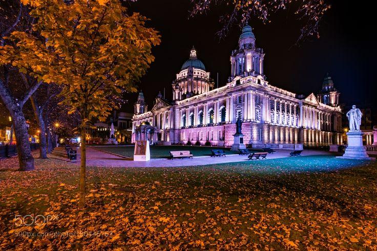 Belfast City Hall - Autumn Night - N.Ireland by thinkbigimages