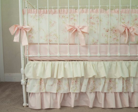 Vintage Floral Shabby Chic Rose Pink and Ivory / Cream Baby Girl Crib Cot Bedding