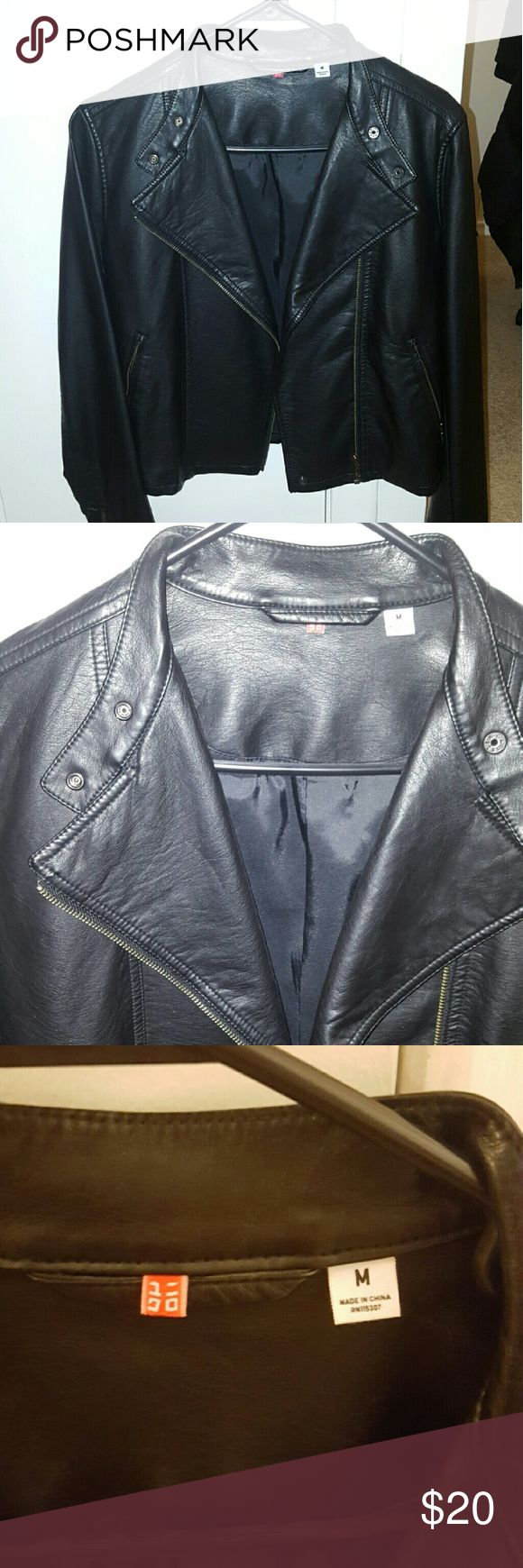 Faux leather jacket Faux leather jacket from Uniqlo. About 3 years old. It's in very good condition, hits right  at the hip, zippers at both wrist. 100% polyester Uniqlo Jackets & Coats