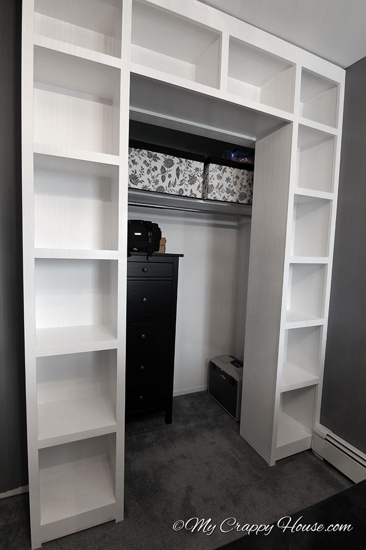 these shelves would be cool around a closet door to extend the size and shape of the closet. hang a tension rod and curtain to turn a small closet into a walk-in!