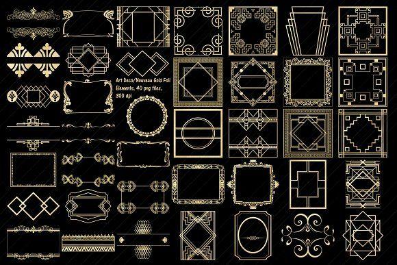 Art Deco Nouveau Gold Foil Elements Foil Print Gold Foil Print Gold Foil