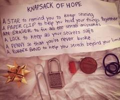 knapsack of hope. I think everyone needs one.