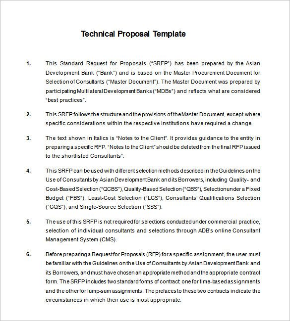 technical proposal template 13 free sample example format