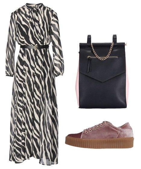Maxi zebra print dress
