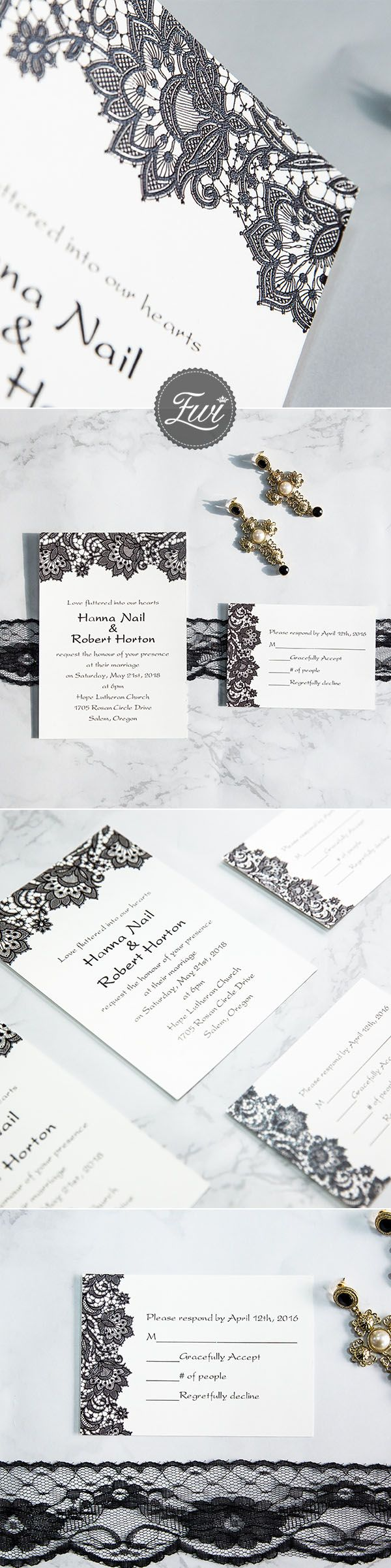 inexpensive wedding invitations with response cards%0A black and white vintage lace UV printing wedding invitations EWUV     Response  CardsWedding